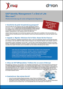 Flyer Agenda zum SAP IdM Expertenforum  Download